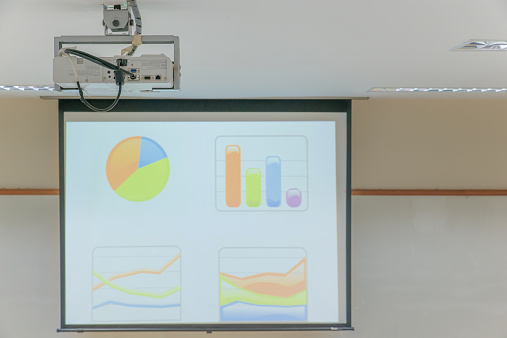 Projector hang on ceiling in Lecture room