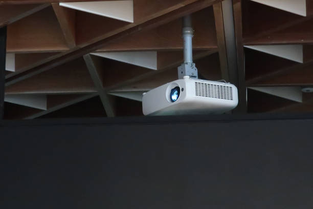 projector on ceiling indoors - projection equipment stock pictures, royalty-free photos & images