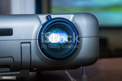 istock Projector on office table 496990211