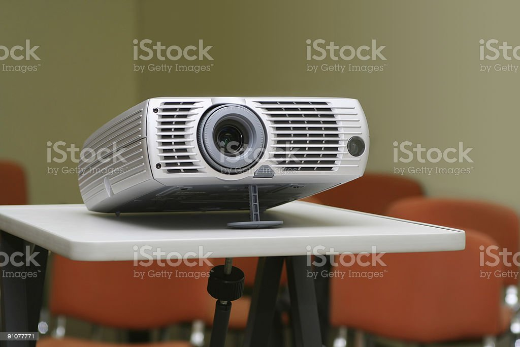 Projector on stand ready for presentation at office royalty-free stock photo