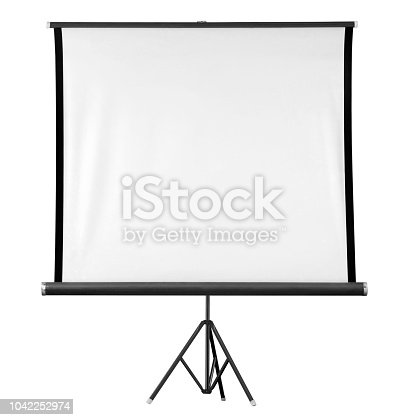 istock Projector screen isolated on white background 1042252974