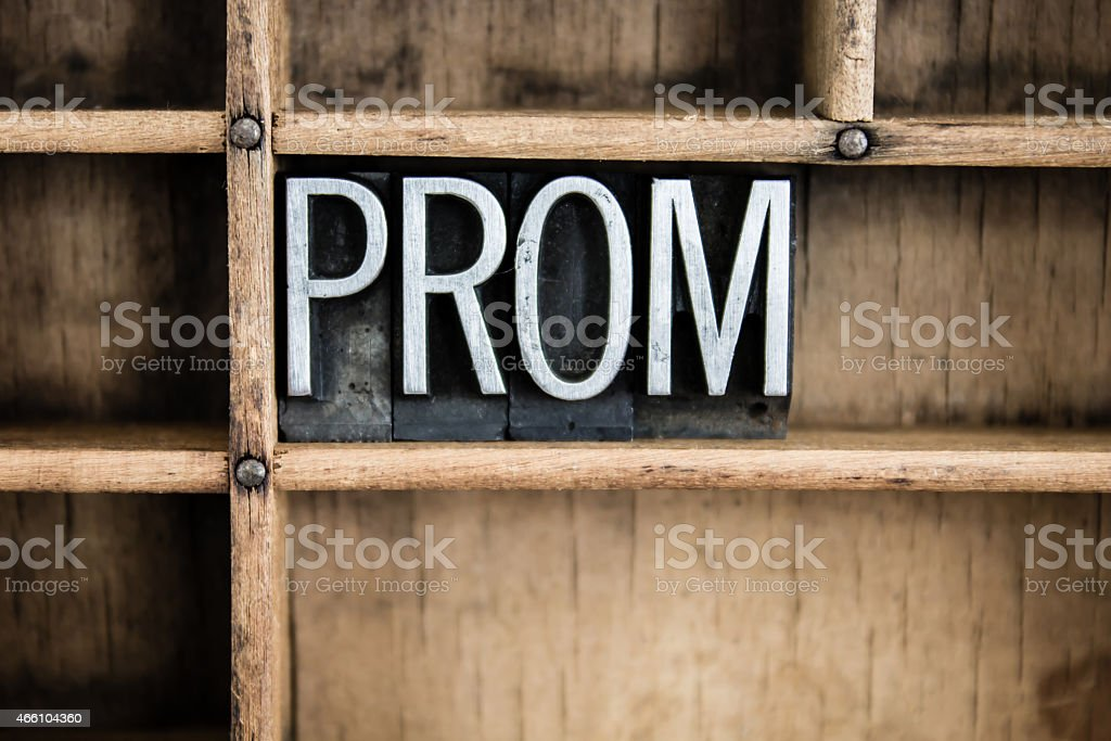 Prom Concept Metal Letterpress Word in Drawer stock photo
