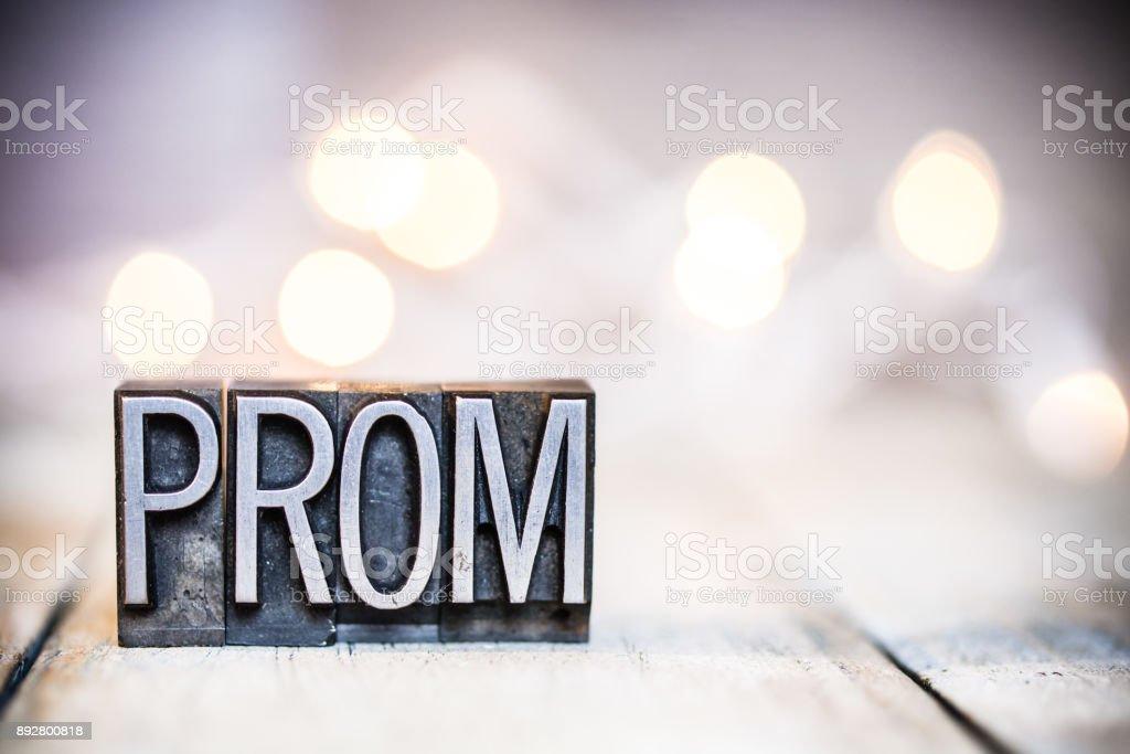 Prom Concept Vintage Letterpress Type Theme stock photo