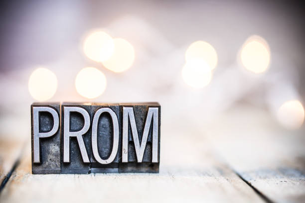 prom concept vintage letterpress type theme - prom stock photos and pictures
