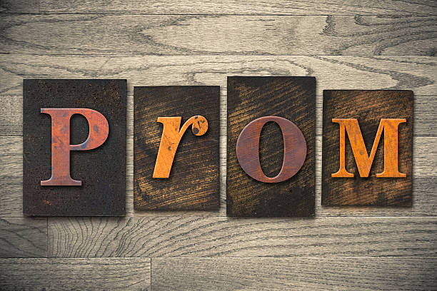 prom concept wooden letterpress type - prom stock photos and pictures
