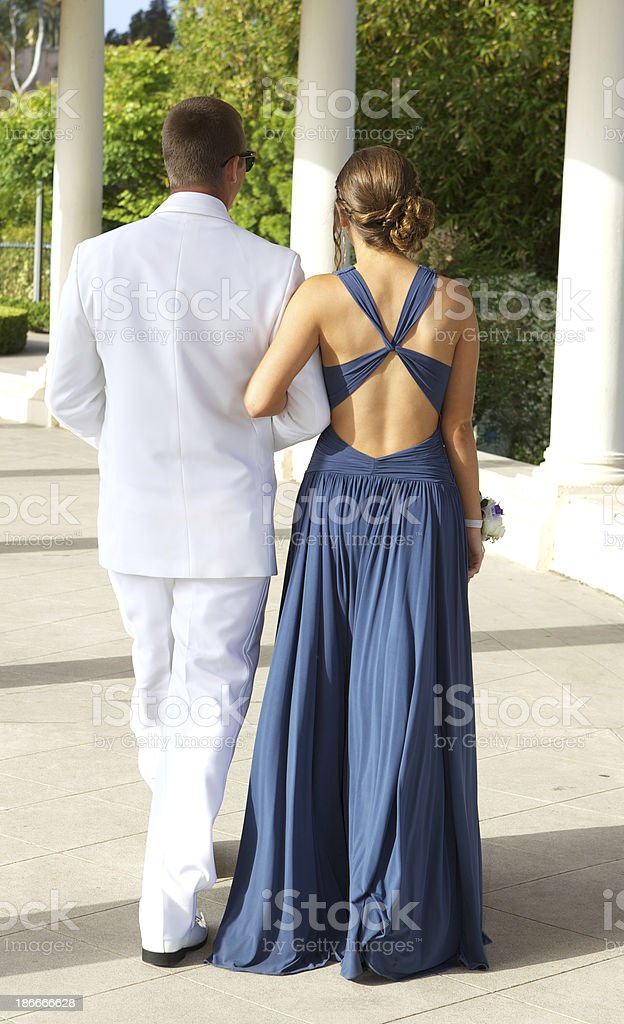 Prom Couple Walking Rear View royalty-free stock photo