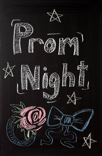 Prom Night Prom Night announcement sign on a blackboard with a chalk representation of a rose flower wrist corsage and a bow tie with party stars.  prom night stock pictures, royalty-free photos & images