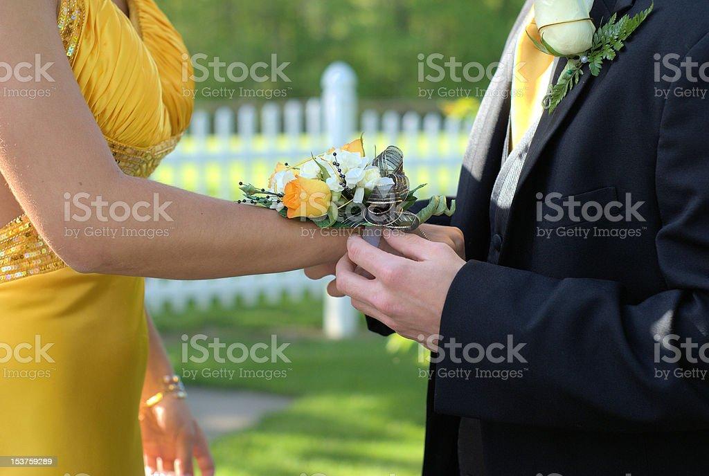 prom wedding couple corsage stock photo
