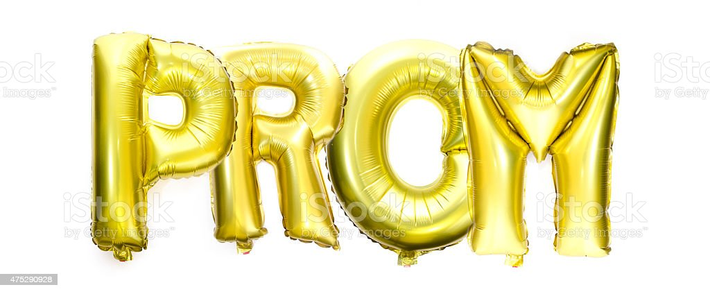 Prom written with helium balloons stock photo