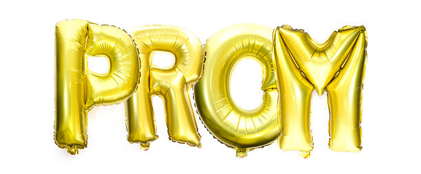 prom written with helium balloons - prom stock photos and pictures