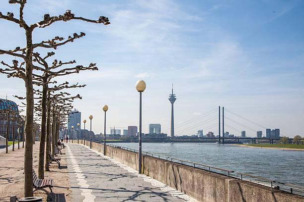 Promenade along river Rhine in Dusseldorf stock photo