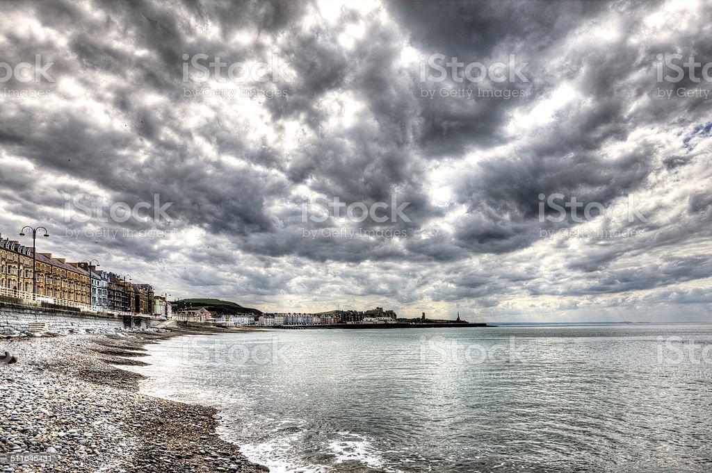Promenade and bay at Aberystwyth stock photo