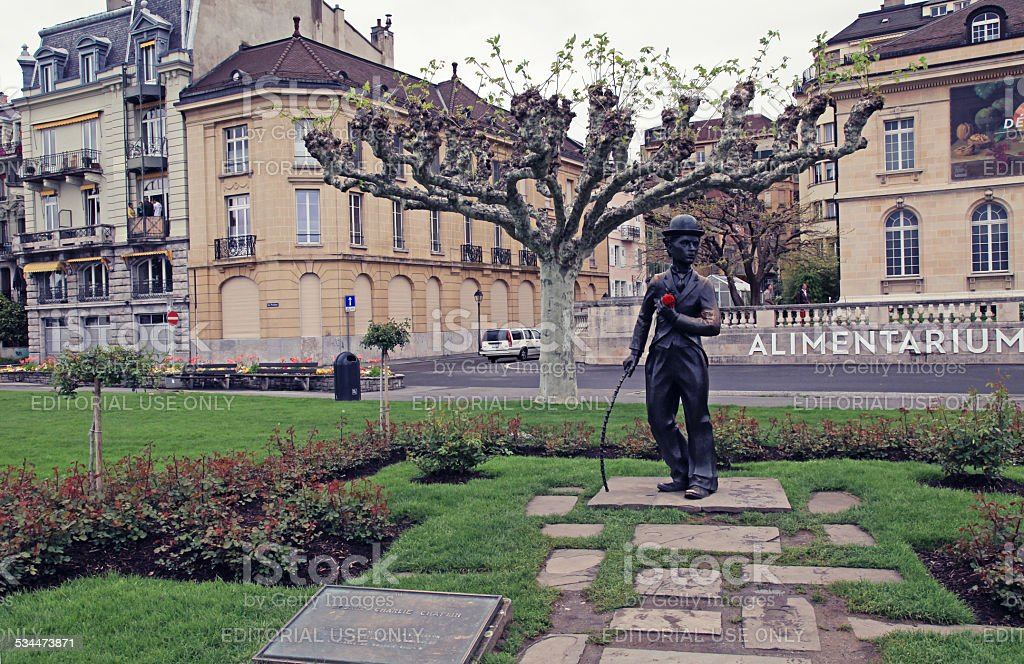 Promenade and bronze statue of Charlie Chaplin in Vevey, Switzerland stock photo