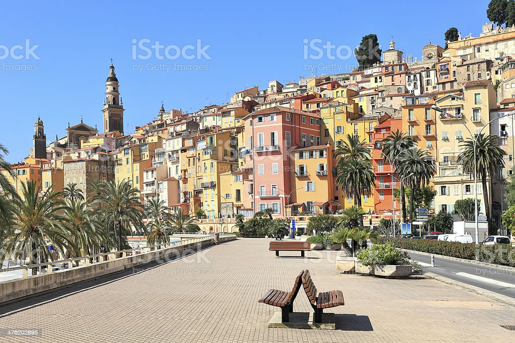 Promenade and town of Menton in France. stock photo