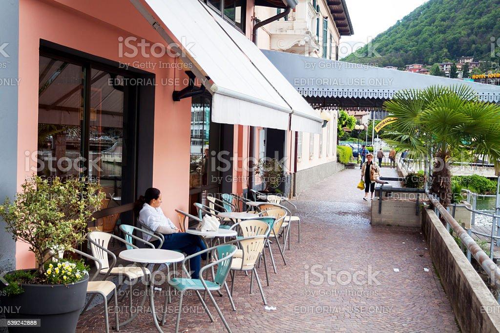 Promenade at lake Lugano royalty-free stock photo
