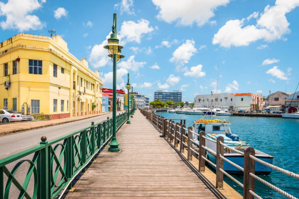 Promenade at marina of Bridgetown, Barbados. stock photo