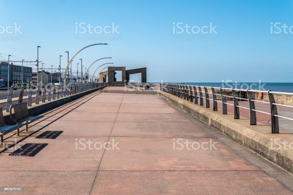 Promenade by the beach in Blackpool, Lancashire stock photo
