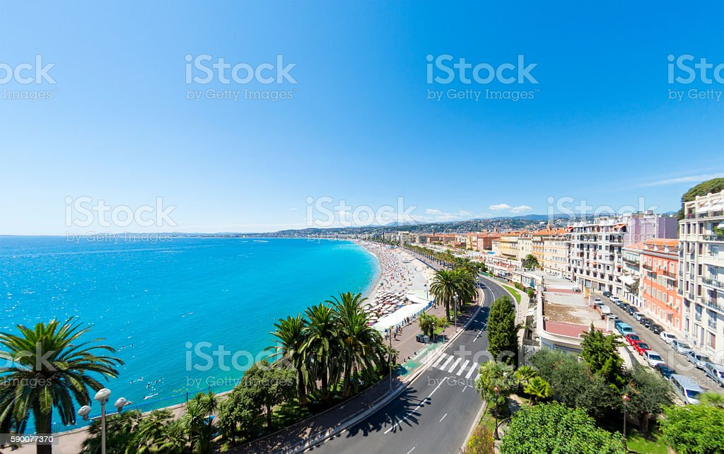 Promenade des Anglais and beach in Nice, France stock photo
