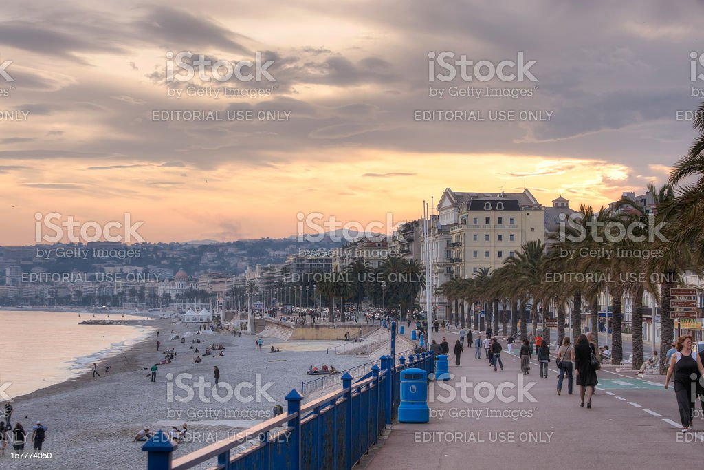 Promenade des Anglais at Sunset royalty-free stock photo