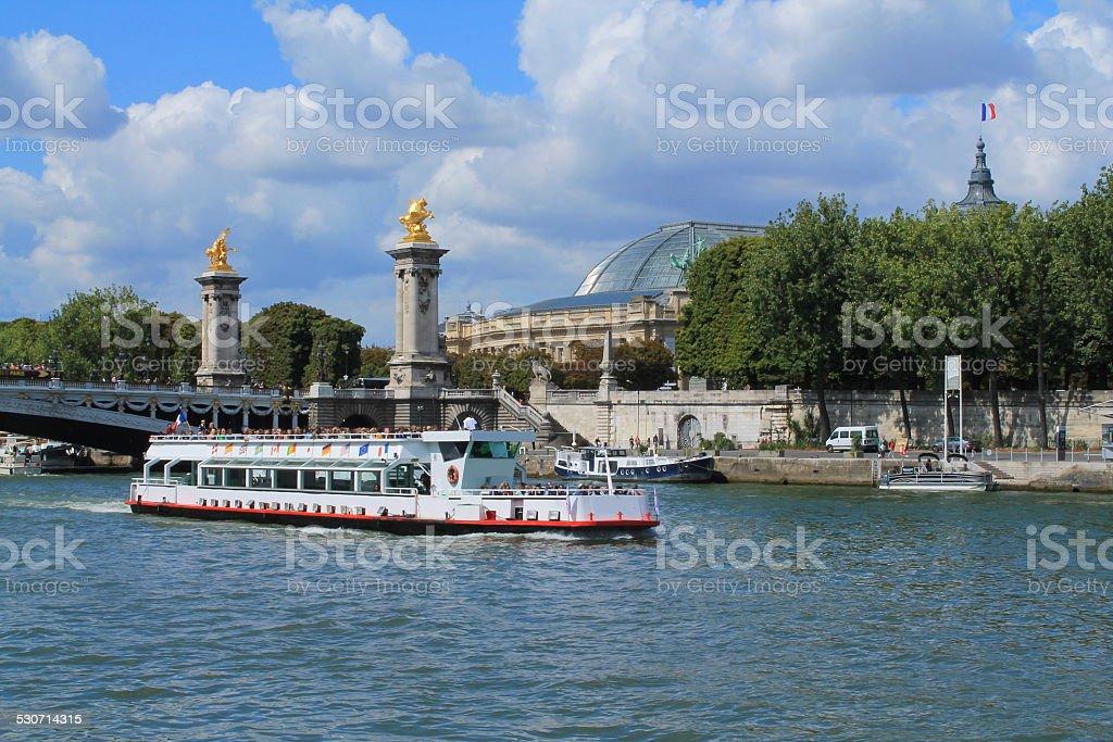 Promenade en bateau sur la Seine, Paris stock photo