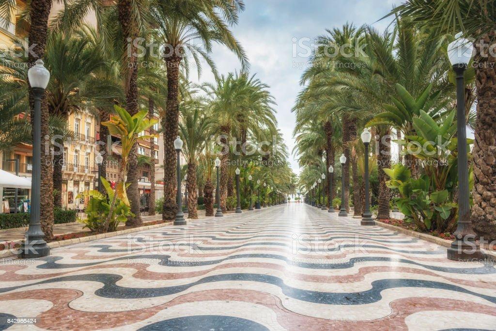 Promenade Explanada - die wichtigsten touristischen Straße in Alicante, Spanien – Foto