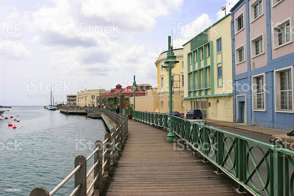 Promenade in Bridgetown, Barbados stock photo