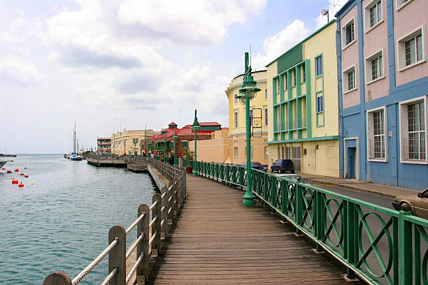 Promenade in Bridgetown, Barbados stock photo