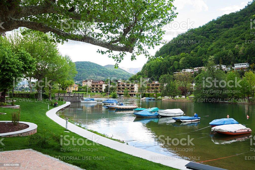 Promenade in Lavena die Ponte Tresa royalty-free stock photo