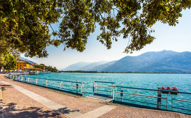 Promenade in Lovere on the Lago d Iseo in Lombardy Italy stock photo