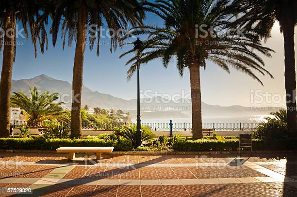 Photo of Promenade in Nerja with palm trees, a bench and mountains