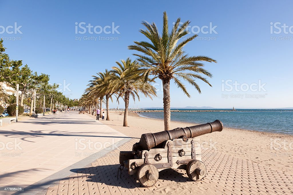 Promenade in Roses, Spain stock photo