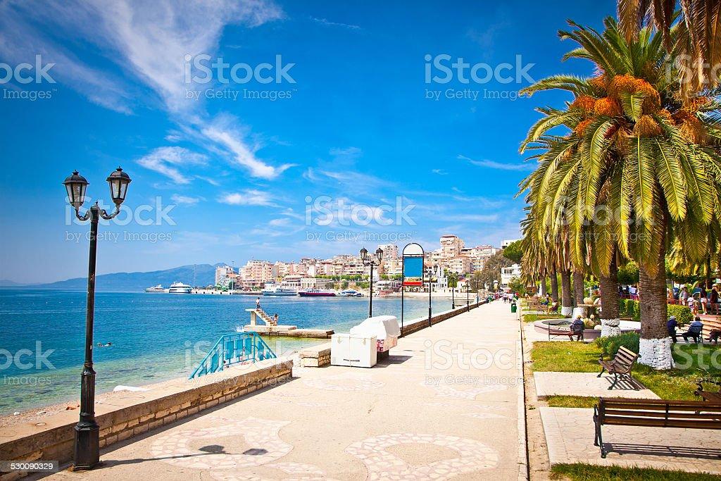 Promenade in Saranda, Albania. stock photo