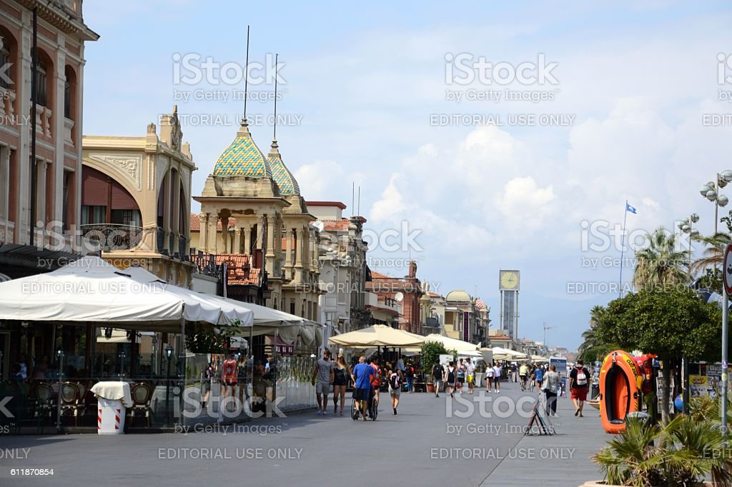 Promenade in Viareggio, Tuscany, Italy stock photo
