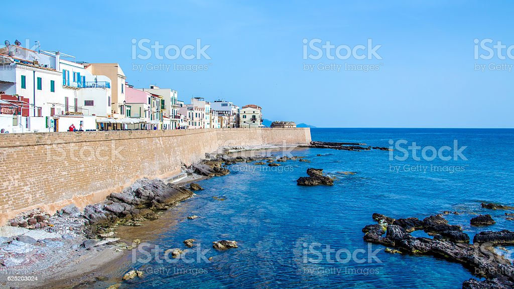 Promenade of Alghero, Sardinia stock photo