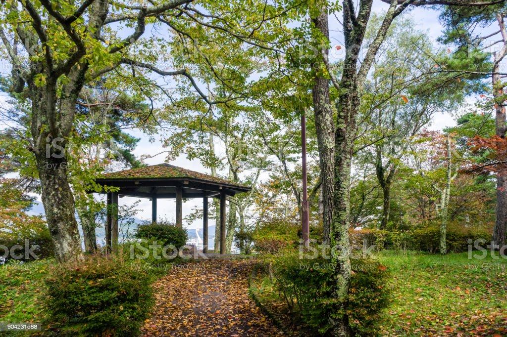 Promenade of Lake Yamanaka lakeside stock photo