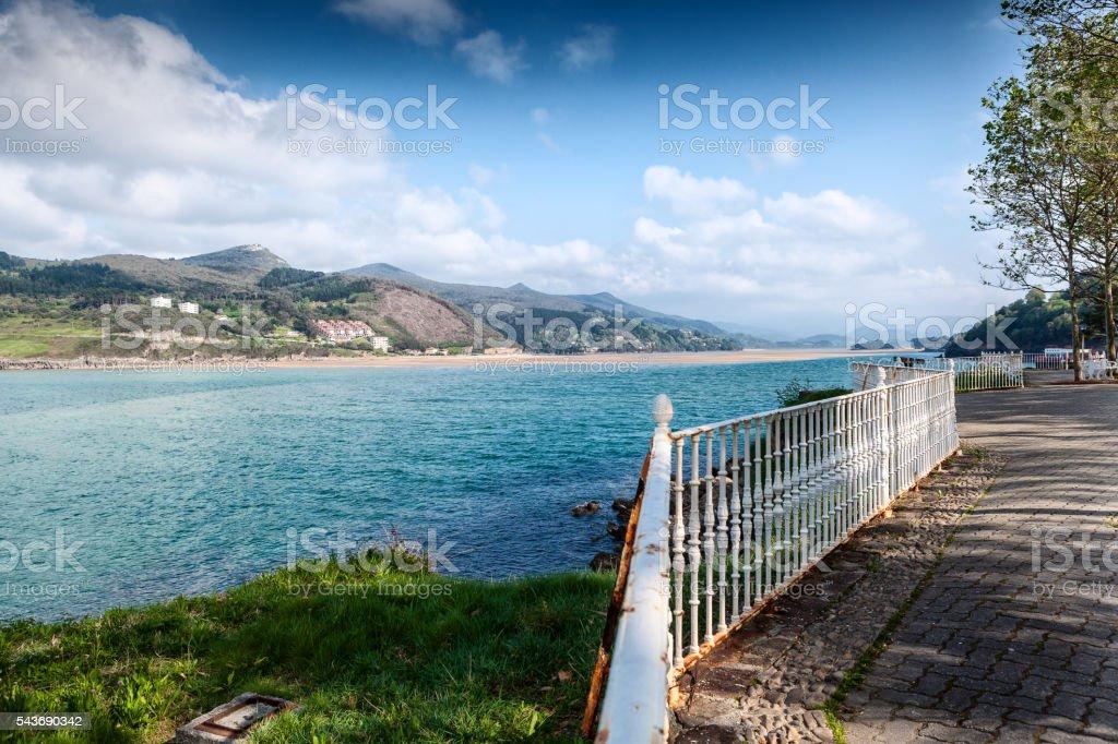 Promenade  of Mundaka Spain stock photo