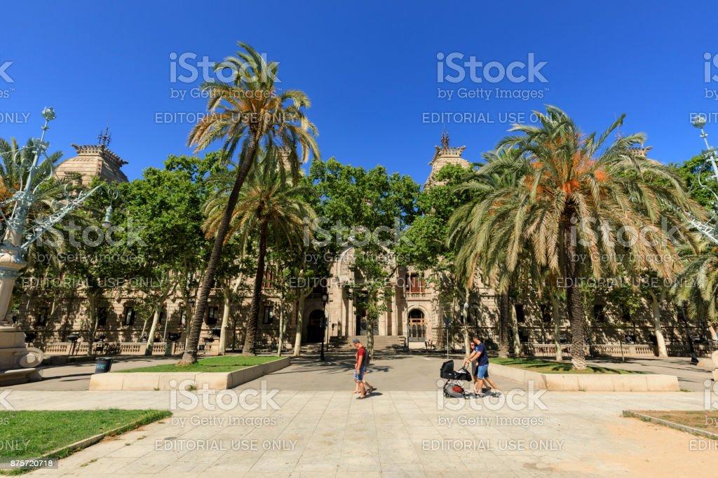promenade of the Passeig de Lluís Companys stock photo