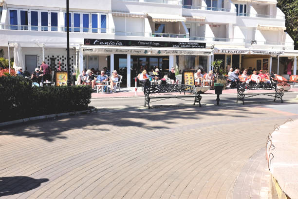 Promenade refreshments, Torremolinos, Spain. stock photo