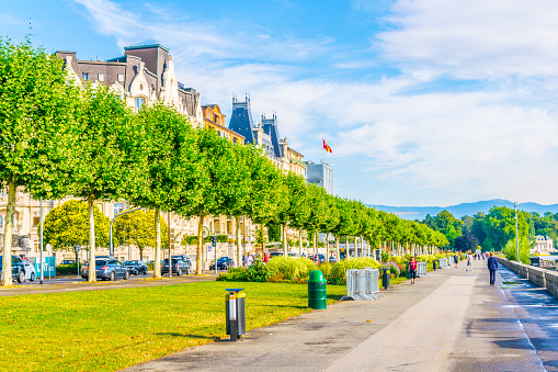 Promenade stretched along historical buildings in Geneva, Switzerland