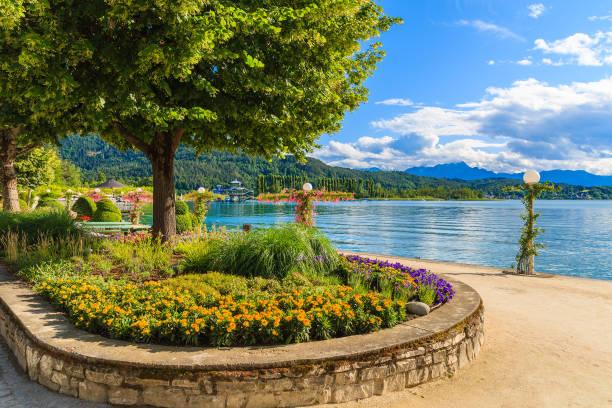 promenade mit blumen wörthersee see entlang an schönen sommertag, österreich - wörthersee stock-fotos und bilder