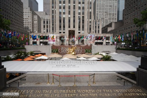 New York, United States - May, 17th 2010: Prometheus Statue in the Lower Plaza of Rockefeller Centre.