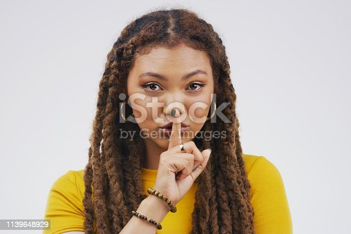 Portrait of an attractive young woman posing with her finger on her lips against a grey background