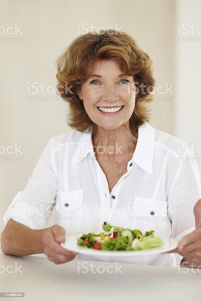 Promoting good health with her greens royalty-free stock photo