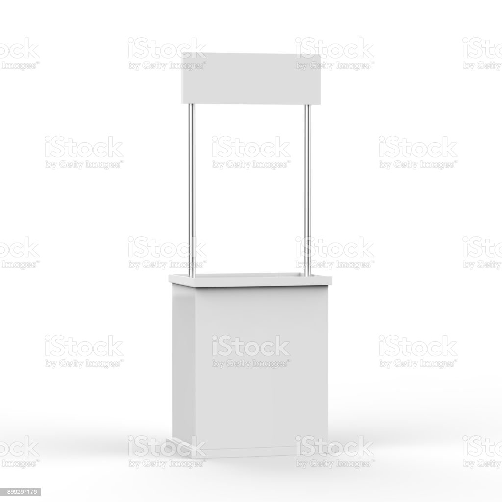 Promotion counter on isolated white background royalty-free stock photo