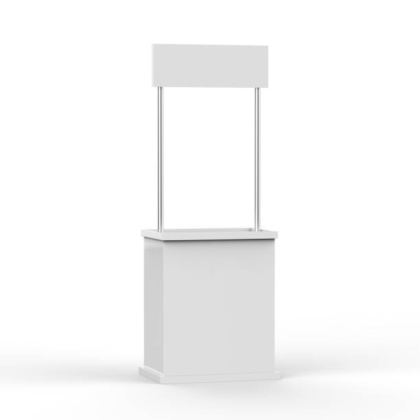 Promotion counter on isolated white background stock photo