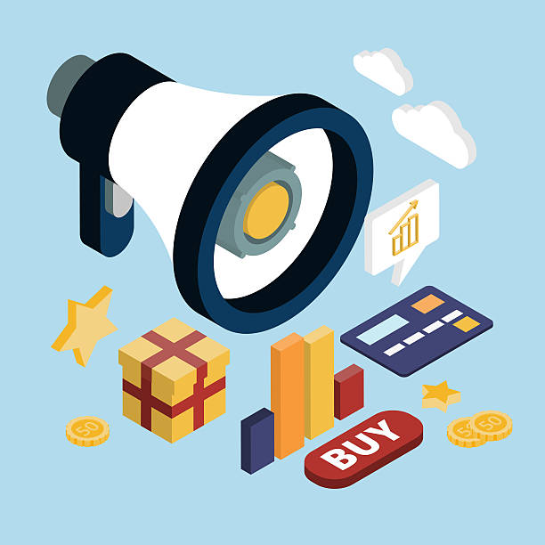 promotion online marketing flat 3d web isometric - advertising isometric stock photos and pictures
