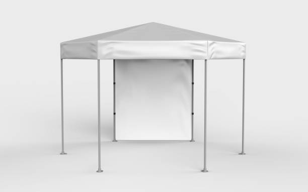 Promotional Advertising Outdoor Event Trade Show Blank Six sided canopy tent for design presentation. 3d render illustration. Promotional Advertising Outdoor Event Trade Show Blank Six sided canopy tent for design presentation. entertainment tent stock pictures, royalty-free photos & images