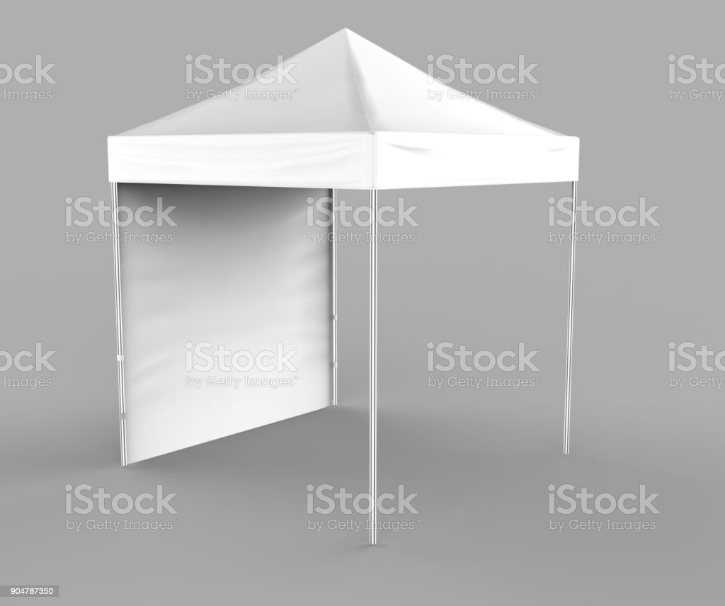 Promotional Advertising Outdoor Event Trade Show Canopy Tent Mobile Marquee Mock Up Template 3d Render Illustration Isolated On White Background Ready For Your Design Product Advertising Stock Photo Download Image Now