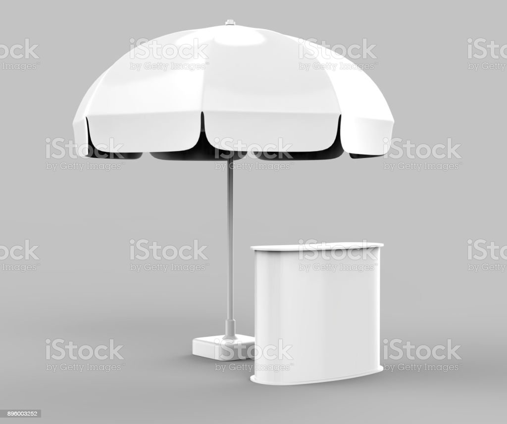 Promotional Aluminum Sun Pop Up Umbrella With Stand Outdoor Patio Umbrellas  For Advertising 3d Rending Illustration Stock Photo U0026 More Pictures Of ...