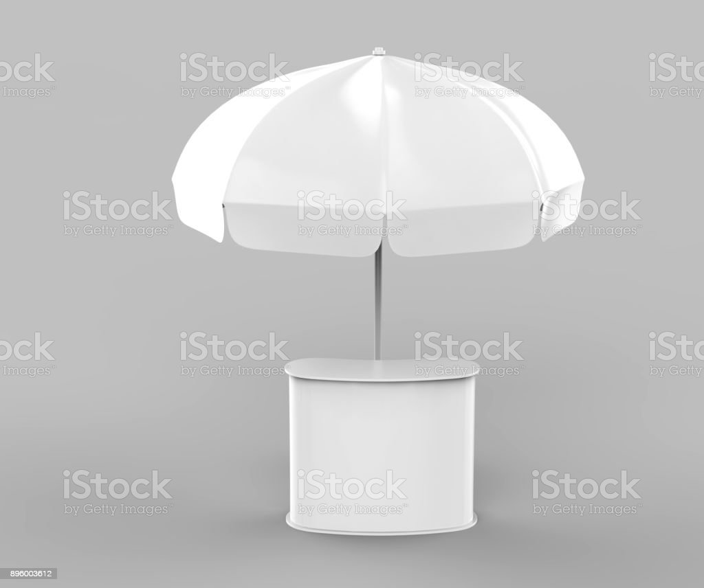 Promotional Aluminum Sun Pop Up Umbrella With Stand Outdoor Patio Umbrellas  For Advertising. 3d Rending